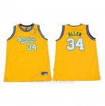Camiseta Historic Seattle SuperSonics Ray Allen #34 Amarillo
