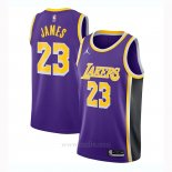 Camiseta Los Angeles Lakers LeBron James #23 Statement 2020-21 Violeta