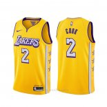 Camiseta Los Angeles Lakers Quinn Cook #2 Ciudad 2019-20 Amarillo
