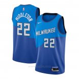 Camiseta Milwaukee Bucks Khris Middleton #22 Ciudad 2020-21 Azul