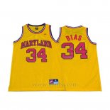 Camiseta NCAA Maryland Len Bias #34 Amarillo