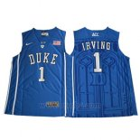 Camiseta NCAA Duke Blue Devils Kyrie Irving #1 Azul