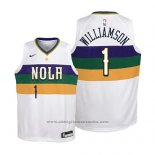Camiseta Nino New Orleans Pelicans Zion Williamson #1 Ciudad 2019 Blanco