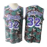 Camiseta Los Angeles Lakers Magic Johnson #32 Camuflaje Verde