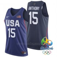 Camiseta USA 2016 Carmelo Anthony #15 Azul