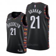 Camiseta Brooklyn Nets Treveon Graham #21 Ciudad Edition Negro