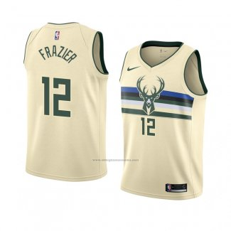 Camiseta Milwaukee Bucks Tim Frazier #12 Ciudad 2018 Crema
