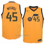 Camiseta Nino Utah Jazz Donovan Mitchell Statement #45 2017-18 Amarillo