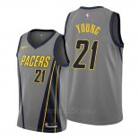 Camiseta Indiana Pacers Thaddeus Young #21 Ciudad Edition Gris