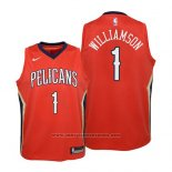 Camiseta Nino New Orleans Pelicans Zion Williamson #1 Statement 2019 Rojo