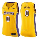 Camiseta Mujer Los Angeles Lakers Kyle Kuzma #0 Icon 2017-18 Amarillo