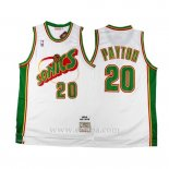 Camiseta Historic Retro Seattle SuperSonics Gary Payton #20 Blanco