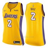 Camiseta Mujer Los Angeles Lakers Lonzo Ball #2 Icon 2017-18 Amarillo