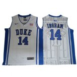 Camiseta NCAA Duke Blue Devils Brandon Ingram #14 Blanco