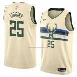 Camiseta Milwaukee Bucks Deandre Liggins #25 Ciudad 2018 Crema