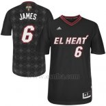 Camiseta Noches Enebea Miami Heat Lebron James #6 Negro