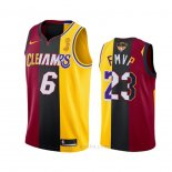 Camiseta Los Angeles Lakers Lebron James 2020 FMVP Heat Cavaliers Split Dual Number Rojo Oro