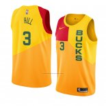 Camiseta Milwaukee Bucks George Hill #3 Ciudad 2018-19 Amarillo