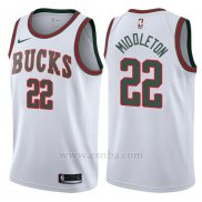 Camiseta Milwaukee Bucks Khris Middleton #22 Return To The Mecca Classic 2017-18 Blanco