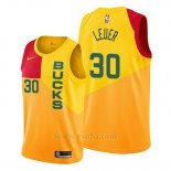 Camiseta Milwaukee Bucks Jon Leuer #30 Ciudad Amarillo