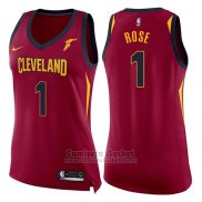 Camiseta Mujer Cleveland Cavaliers Derrick Rose Icon #1 2017-18 Rojo