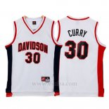 Camiseta NCAA Davidson Wildcat Stephen Curry #30 Blanco