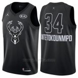 Camiseta All Star 2018 Milwaukee Bucks Giannis Antetokounmpo #34 Negro