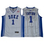 Camiseta NCAA Duke Blue Devils Kyrie Irving #1 Blanco