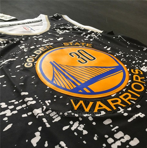 Camiseta Luces De La Ciudad Golden State Warriors Stephen Curry #30 Negro